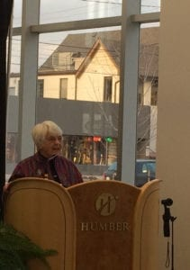 Ruth Grier, speaking at the Lakeshore Ground Grand Openings. Jaan Pill photo