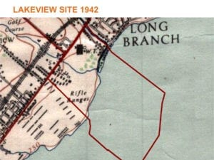 """The map is from Jim Tovey, in response to a question from Garry Burke (see comments, at the end of this post). Councillor Tovey writes: """"My understanding is the social housing was located in the barracks previously occupied by the Lorne Scots after WWII. Here is a map showing showing the barracks. The cluster just south of Lakeshore (in red) and in between the other red line and the creek. I believe the Work Camp was closer to Cawthra Rd. You should check with Mathew Wilkinson at Heritage Mississauga."""""""