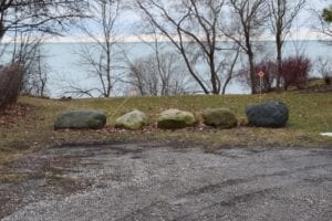 Large rocks positioned at terminus of Fortieth St. view corridor. Jaan Pill photo