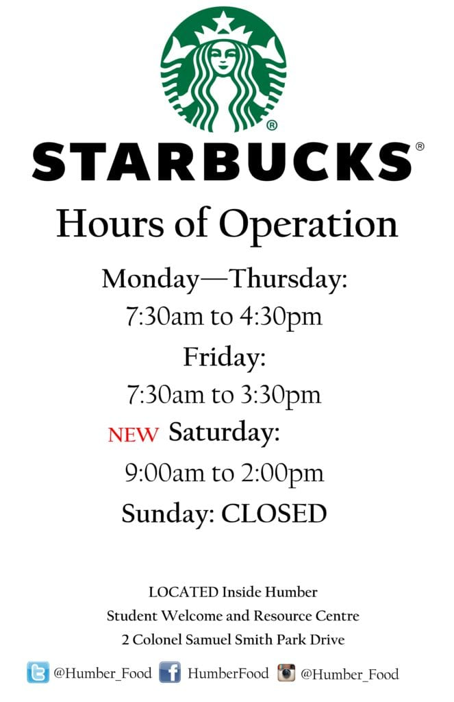New Starbucks Hours 11 x 17- Lakeshore Campus