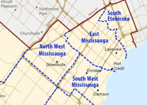 Detail from map showing boundaries for Mississauga Halton LHIN. Source: Mississauga Halton LHIN website