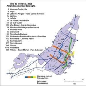 Figure 1: City of Montréal, 2006, Boroughs (Arrondissements)