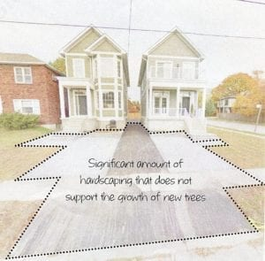 Figure 89. curb cuts and hardscaped driveways associated with severed lot (Topic: Before & After Analysis.)