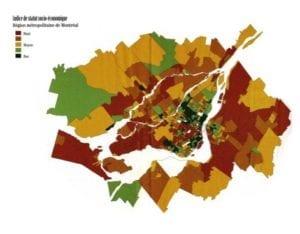 Figure 9: Socio-Economic Status Index – Montréal Metropolitan Region, 1991 This map shows the socio-economic status of census tracts in 1991. Red = High; Orange = Medium-high; Yellow = Medium; Light green = Medium-low; Dark green = Low.