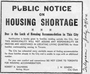 Public Notice on Housing Shortage July 29, 1944 City of Toronto Archives Series 361, Subseries 1, File 566