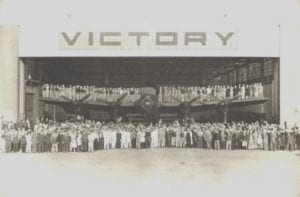 Workers at the Victory Aircraft Plant in Malton, Ontario celebrating the roll out of KB799, the one hundredth Canadian built Lancaster. Source: The Canadian Lancasters webpage/
