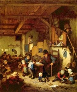 Source: March 19, 2017 tweet from KanatlarımVarBenim‏ @angell_bird - The Schoolmaster, 1662 - Adriaen van Ostade ( Dutch, 1610 - 1685)