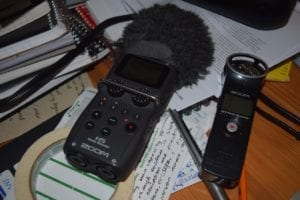 Left to right: Zoom H5 and Zoom H1 digital recorders. Jaan Pill photo