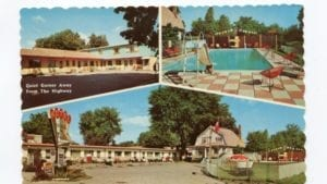 The image is from the CBC article highlighted at the post you're now reading. Caption: An exhibition that opens on Friday night [March 10, 2017] explores the history of Scarborough's Kingston Road motel strip. This image depicts three views of a motel at 4532 Kingston Road in 1954. (Scarborough Historical Society)