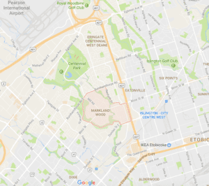 Screenshot of Google Map view of Markland Wood