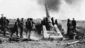 Naval guns fire during the battle at Vimy Ridge in April, 1917. NATIONAL ARCHIVES OF CANADA. The image is rom the Globe and Mail article highlighted at the post you are now reading.