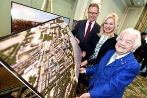 Images is from a tweet from Rob Beintema‏ @RobAtTheNews; caption reads: @BonnieCrombie @JimTovey and Hazel McCallion unveil new West Village plans for 72 acre Port Credit former refinery site. #mississauga