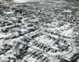Aerial photo of Long Branch, taken by John Stewart's uncle (I will get the name later), who served as a reconnaissance photographer in the Second Wold War. The photo is I think from the 1950s (I will check).