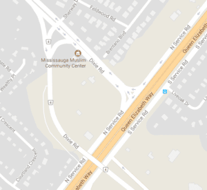 The curve from Dixie Road to the North Service road is indicated at the centre of this screenshot, downloaded on July 9, 2017 from Google Maps. Click on the image to enlarge it.