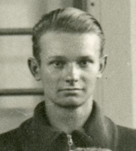 Kaljo Pill, at age about 21. Detail from 1936 group photo of athletes from Estonia, who attended the 1936 Berlin Olympics as student observers. Source: Kaljo Pill