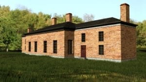The image is from the CBC Day Six article, for which a link is included at the post you are now reading. Caption: A computer-generated image shows what the two brick buildings of Upper Canada's first Parliament would have looked like in the early 1800s. (Robert Grillo/ASI)