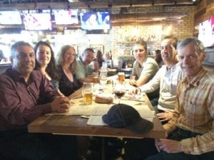 Left to right: Arun, Kim, Lisa, Danielle, Andrew, David, Jaan meeting on Aug. 14, 2017 at Scaddabush Italian Kitchen & Bar at Front and Simcoe in Toronto