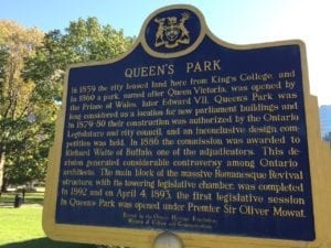 Plaque at Queen's Park. Jaan Pill photo