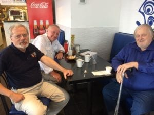 Left to right, Scott Munro, Daniel McPhail, and Bob Carswell meeting for lunch in south Etobicoke early in June 2017. Jaan Pill photo