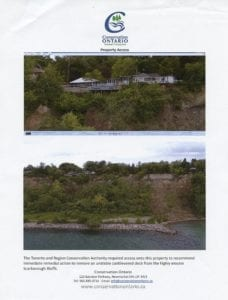 """The Conservation Ontario handouts on Oct. 17, 2017 included a page with two photos concerned with property access, that the Toronto and Region Conservation Authority required, in order """"to recommend immediate remedial action to remove an unstable cantilevered deck from the highly erosive Scarborough Bluffs."""""""