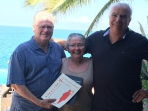 Left to right: Walter Rhead, Kathleen Dawson and Ulrich Laska reconnecting at Villa Estrella in Mexico. Ulrich Laska photo