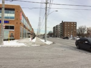 View of corner of Enola Ave. and Lakeshore Road East. Jaan Pill photo