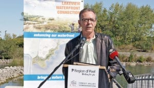 Jim Tovey speaking at event connected with the Lakeview Waterfront Connection Project. Photo source: Credit Valley Conservation website