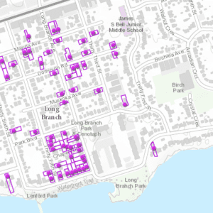 Screenshot of online City of Toronto Heritage Register map, accessed April 18, 2018. The map indicates that many of the houses on the May 5, 2018 Long Branch Jane's Walk route, discussed at the post you are now reading, are listed as heritage properties.