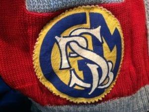 MCHS crest (one of three) on Rita's school jacket