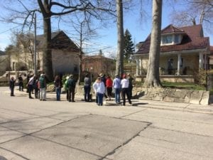 May 8, 2018 Long Branch Jane's Walk led by MPP Peter Milczyn stops to admire Cottage Era house at corner of Long Branch Ave. and Muskoka Ave. Jaan Pill photo