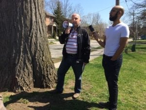 MPP Peter Milczyn highlights recently designated, 200-year-old red oak Heritage Tree at corner of Park Blvd. and Long Branch Ave., during May 5, 2018 Long Branch Jane's Walk. Jaan Pill photo