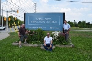 Left to right, Ted Long, Patrick Long, and Garry Burke outside Small Arms Inspection Building at Dixie Road and Lakeshore Road East, Aug. 5, 2018. Jaan Pill photo