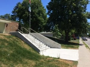 View of new main entrance stairs, one of many new, recently constructed landscape features at École élémentaire Micheline-Saint-Cyr, 85 Forty First St. in Long Branch. Jaan Pill photo