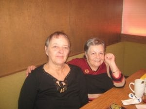 After sixty-two (62) years, Marsha Silver (on the right) and Noreen Doherty meet in Orleans, Ontario, December 2018