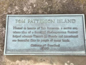 Plaque at Tom Patterson Island on Lake Victoria in Stratford. Jaan Pill photo