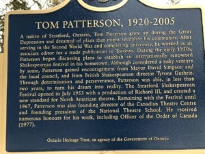 Plaque in honour of Tom Patterson. Jaan Pill photo