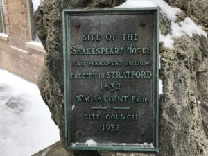Plaque commemorating first permanent building in Stratford. Ontario. Jaan Pill photo