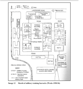 Screen shot of Image 12, Sketch of military training barracks, p. 35, from archaeological assessment (report of July 25, 2013) of Lakeview Waterfront Connection Project. Click on image to enlarge it; click again to enlarge it further.