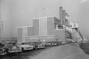 "Above: 440 Unwin Avenue, The Richard L. Hearn Generating Station, (google maps, 2019) Cover: 440 Unwin Avenue, ""Richard L. Hearn Generating Station"" photograph showing the west and south elevations, post-1951 (City of Toronto Archives, Fonds 1128, Series 380, Item 202)"
