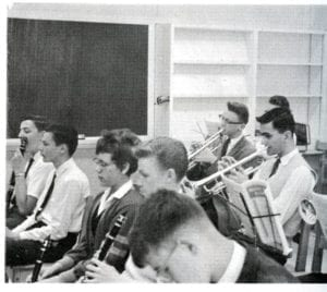 Joëlle King and Ron Dykhof playing clarinet - MCHS 1961-62 Yearbook