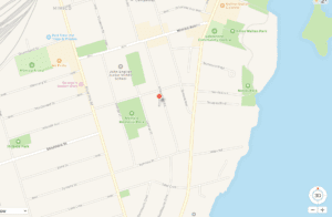 Screenshot from Google Earth indicating location of 58 Wheatfield Road in Mimico